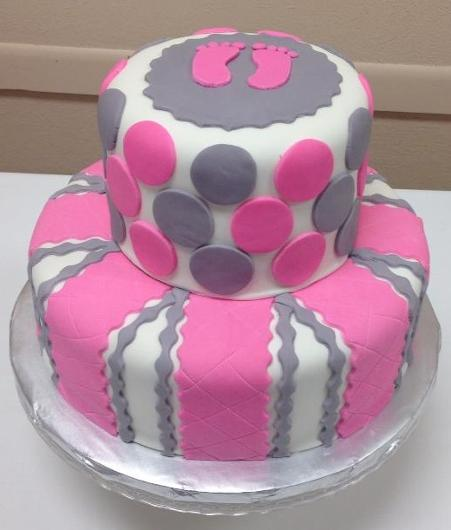 pink and gray baby shower cake pink amp gray baby shower